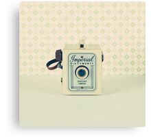 Retro - Vintage Pastel Camera on Beige Pattern Background  Canvas Print