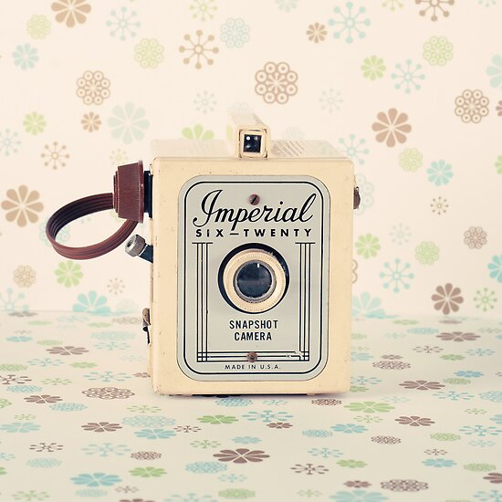 Retro - Vintage Pastel Camera on Cream Pattern Background  by Andreka