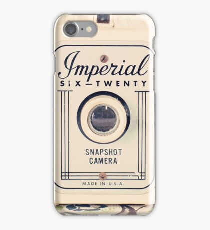 Retro - Vintage Pastel Camera on Beige Pattern Background  iPhone Case/Skin