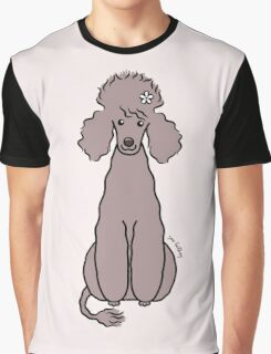 Poodle with White Flower Graphic T-Shirt