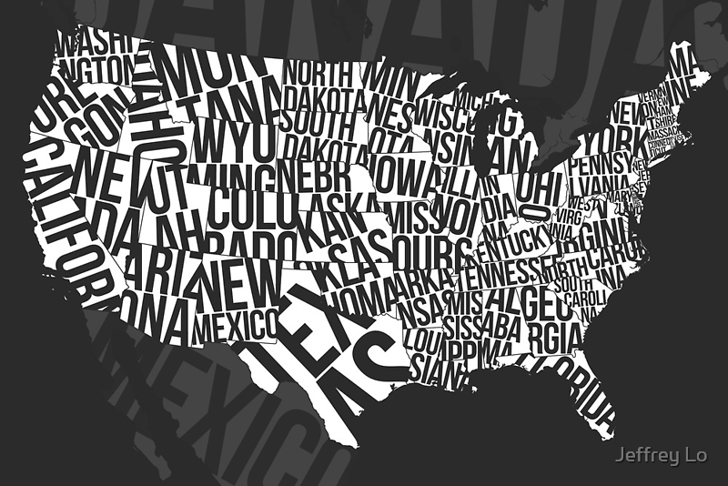 United States of Typography: Black by Jeffrey Lo