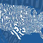 United States of Typography: Blue by Jeffrey Lo