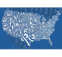 United States of Typography: Blue Photographic Print