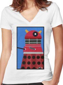Dalek Sticker Women's Fitted V-Neck T-Shirt