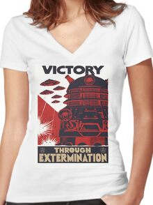 All Hail Our Dalek Overlord Women's Fitted V-Neck T-Shirt