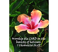 """1 Chronicles 16:29""  by Carter L. Shepard Photographic Print"