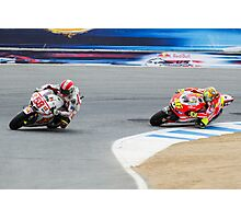 Marco Simoncelli and Valentino Rossi at laguna seca 2011 Photographic Print