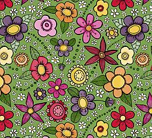 bright inky floral by dorisandfred