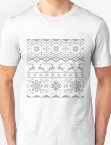 Gray Christmas knitted Pattern Unisex T-Shirt