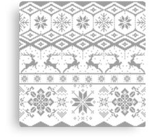 Gray Christmas knitted Pattern Canvas Print