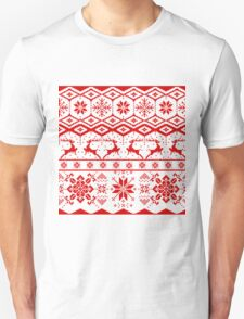 Red christmas knitter sweater pattern T-Shirt