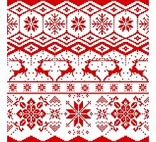 Red christmas knitter sweater pattern Photographic Print