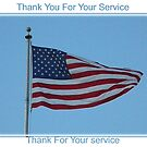 Thank You For Your Service flag card patriotic card by ack1128