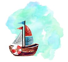 Ship in the Watercolor by Orce