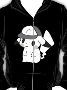 Pikachu with Ash's Hat in B&W T-Shirt