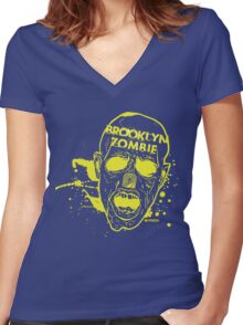 BROOKLYN ZOMBIE!!!!!! Women's Fitted V-Neck T-Shirt