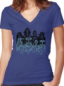 ROBOT CITY! Women's Fitted V-Neck T-Shirt