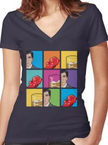 scotch & gummy bears tiles Women's Fitted V-Neck T-Shirt