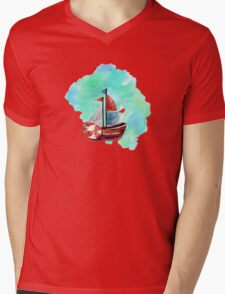 Ship in the Watercolor Mens V-Neck T-Shirt
