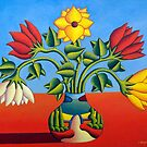 Vase with soft flowers in twoscape 2 by Alan Kenny