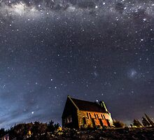 Lake Tekapo Church Under The Milky Way by Russell Charters