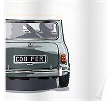 Classic Mini Cooper rear view. Poster