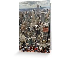Tourists viewing downtown Manhattan Greeting Card