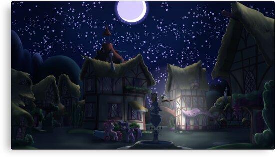 Ponyville, Night by Stinkehund