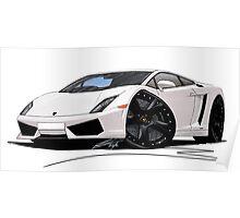 Lamborghini LP560/4 Pearl White [BLK] Poster