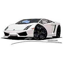 Lamborghini LP560/4 Pearl White [BLK] Photographic Print