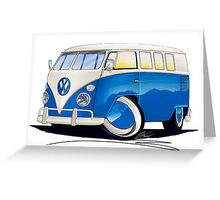 VW Splitty (11 Window) Blue Greeting Card