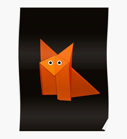 Cute Origami Fox Dark Poster