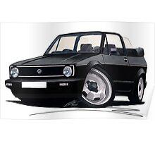 VW Golf (Mk1) Cabriolet Black Poster