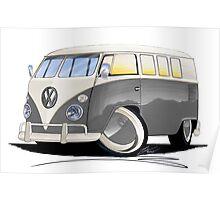 VW Splitty (11 Window) Grey Poster