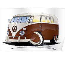 VW Splitty (11 Window) Brown Poster