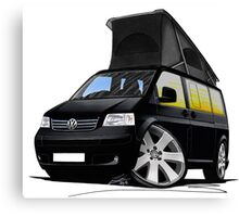 VW T5 California Camper Van Black Canvas Print