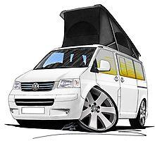 VW T5 California Camper Van White Photographic Print