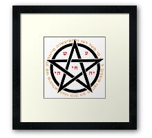 pentagram, witchcraft concept with hebrew text  Framed Print