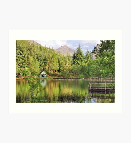 Summer reflections at Glencoe lochan Art Print