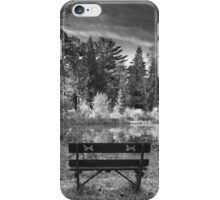 Park Bench and Pond Landscape in Infrared Black and White  iPhone Case/Skin