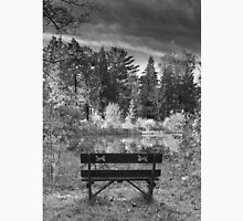 Park Bench and Pond Landscape in Infrared Black and White  Unisex T-Shirt