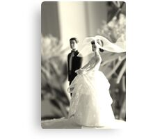 The Groom Stands Humbly in the Background Canvas Print
