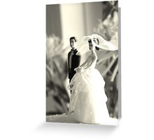 The Groom Stands Humbly in the Background Greeting Card