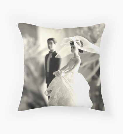 The Groom Stands Humbly in the Background Throw Pillow