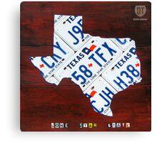 Texas License Plate Map Canvas Print