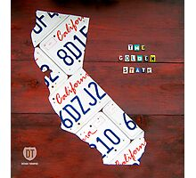 California License Plate Map Photographic Print