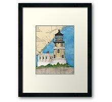 Split Rock Lighthouse MN Nautical Map Cathy Peek Framed Print