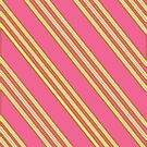 Salmon Pink &amp; Yellow Stripes by Paula J James