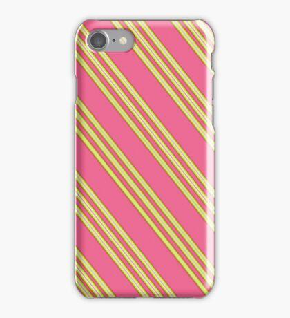 Salmon Pink & Yellow Stripes iPhone Case/Skin
