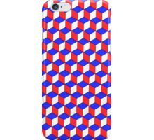 Cool Red, Blue and White cube Illusion iPhone case. iPhone Case/Skin